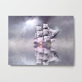 The mist and the boat Metal Print