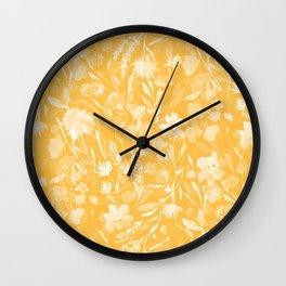 Upside Floral Golden Yellow Wall Clock
