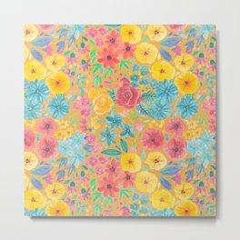 Floral watercolor pattern in yellow Metal Print