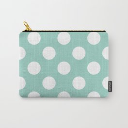 Gone Dotty Spotty - Geometric Orbital Circles In Pale Spring Fresh Green & White Carry-All Pouch