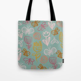 Bee with Flowers Tote Bag
