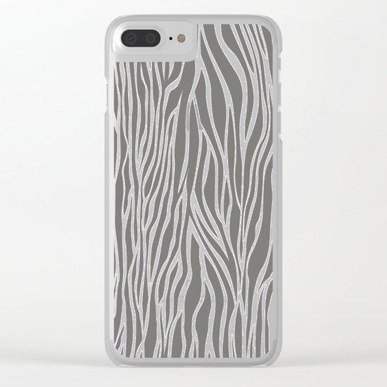 Safari Zebra Print - Grey & White Clear iPhone Case
