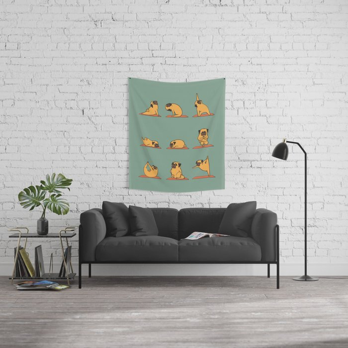 Pug Yoga Wall Tapestry