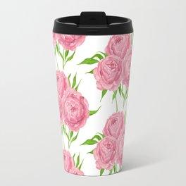 Peony bouquet watercolor pattern Travel Mug