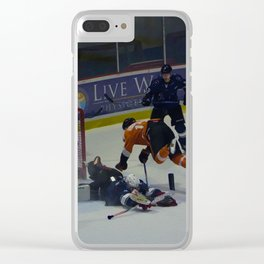 Dive for the Goal - Ice Hockey Clear iPhone Case