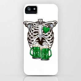 St Patrick's Day Skeleton Love Green Beer iPhone Case