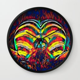 1349s-MAK Abstract Pop Color Erotica Explicit Psychedelic Yoni Buns Wall Clock