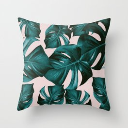 Monstera Leaves Pattern #4 #tropical #decor #art #society6 Throw Pillow