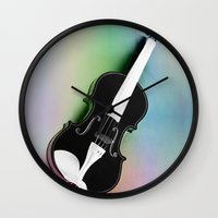 violin Wall Clocks featuring Violin by Christine baessler