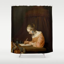 """Gerard ter Borch """"Woman writing a letter"""" Shower Curtain"""