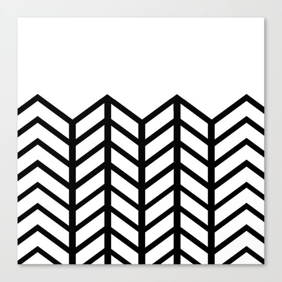 BLACK & WHITE LACE CHEVRON Canvas Print