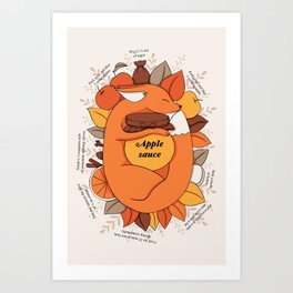 Fox Apple Sauce Art Print