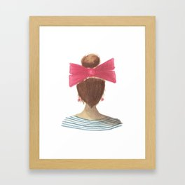 lady in a bow, brunette Framed Art Print