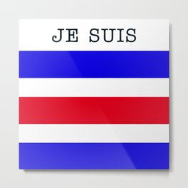Je Suis Charlie #3  - Navy Alphabet Metal Print