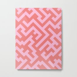 Cotton Candy Pink and Coral Pink Diagonal Labyrinth Metal Print
