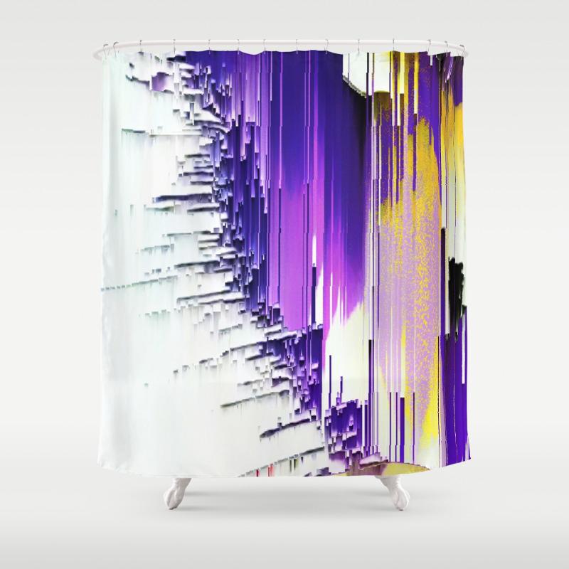 color splash purple indigo white yellow black abstract digital painting shower curtain by katerina ez