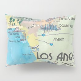 Greater Los Angeles Fine Art Print Retro Vintage Map with Touristic Highlights in colorful retro pri Pillow Sham