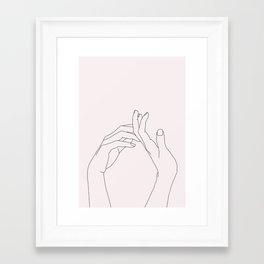 Hands line drawing illustration - Abi Natural Framed Art Print
