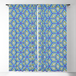 Blue and Gold Tilted Cubes Pattern Blackout Curtain