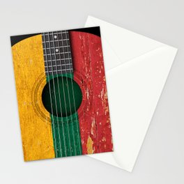 Old Vintage Acoustic Guitar with Lithuanian Flag Stationery Cards