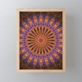 Orange and plum mandala Framed Mini Art Print