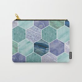 Mixed greens & blues - marble hexagons Carry-All Pouch