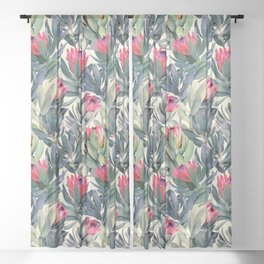 Painted Protea Pattern Sheer Curtain