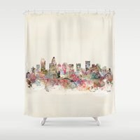 north carolina Shower Curtains featuring charlotte north carolina  by bri.buckley