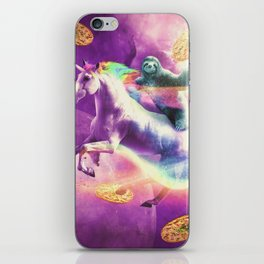Space Sloth Riding On Flying Unicorn With Pizza iPhone Skin