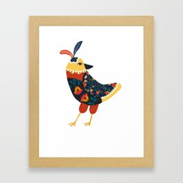 Folk Hen Framed Art Print