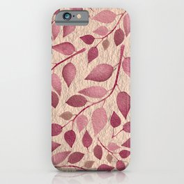 Berry Pink Leaves On Brushed Gold iPhone Case