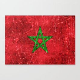 Vintage Aged and Scratched Moroccan Flag Canvas Print
