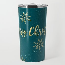 Merry Christmas Teal Gold Travel Mug