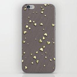 VALENTINE HEARTS - Gold Hearts & Dark Pinstripe iPhone Skin