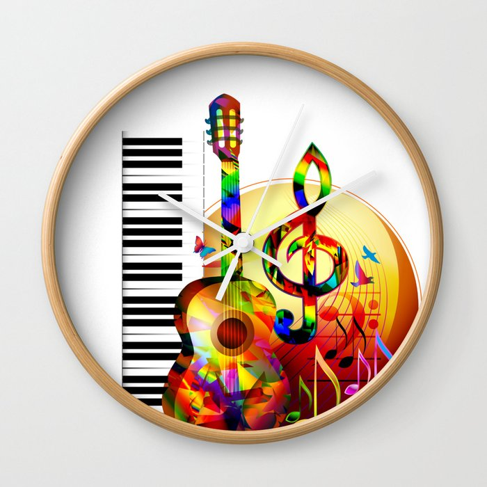 Colorful Music Instruments Painting Guitar Treble Clef Piano Musical Notes Flying Birds Wall Clock By Arija Art