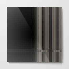 Modern Black Ribbon Pattern Design Metal Print