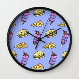 Fast Food Cuties (Blue) Wall Clock