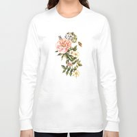 vintage floral Long Sleeve T-shirts featuring Vintage floral watercolor background by Anna Yudina