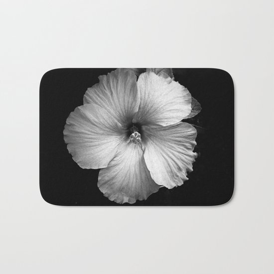 white flower Bath Mat