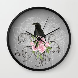 Wonderful crow with flowers Wall Clock