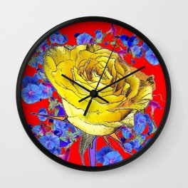 RED ART YELLOW ROSE BLUE MORNING GLORY FLOWERS Wall Clock