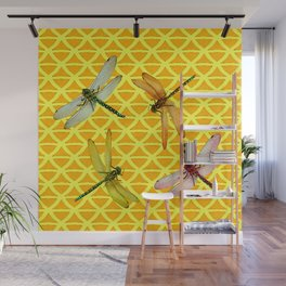DRAGONFLIES PATTERNED YELLOW-BROWN ORIENTAL SCREEN Wall Mural
