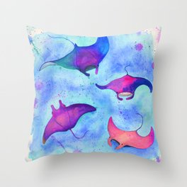 Neon Mantas Throw Pillow
