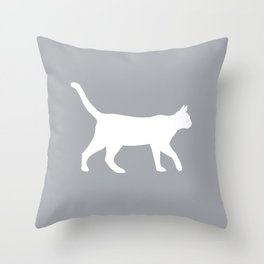 Cat silhouette cat lady cat lover grey and white square minimal modern pet silhouette pattern Throw Pillow