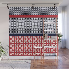 Japanese Style Ethnic Quilt Blue and Red Wall Mural