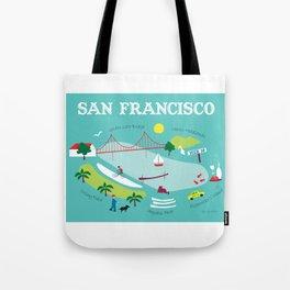 San Francisco, California - Collage Illustration by Loose Petals Tote Bag