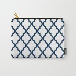 Moroccan Quatrefoil Pattern: Navy Blue Carry-All Pouch