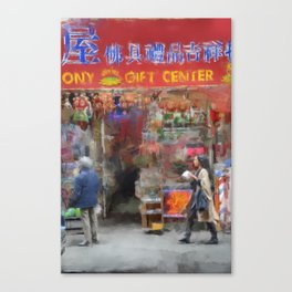 NYC Chinatown Illustration Oil Painting Acrylic Art New York City Decor Streets Brooklyn Manhattan Canvas Print