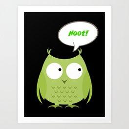 Owl Cartoon - Hoot Art Print