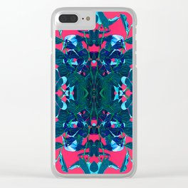 Blue and Pink Kaleidoscope Pattern Clear iPhone Case